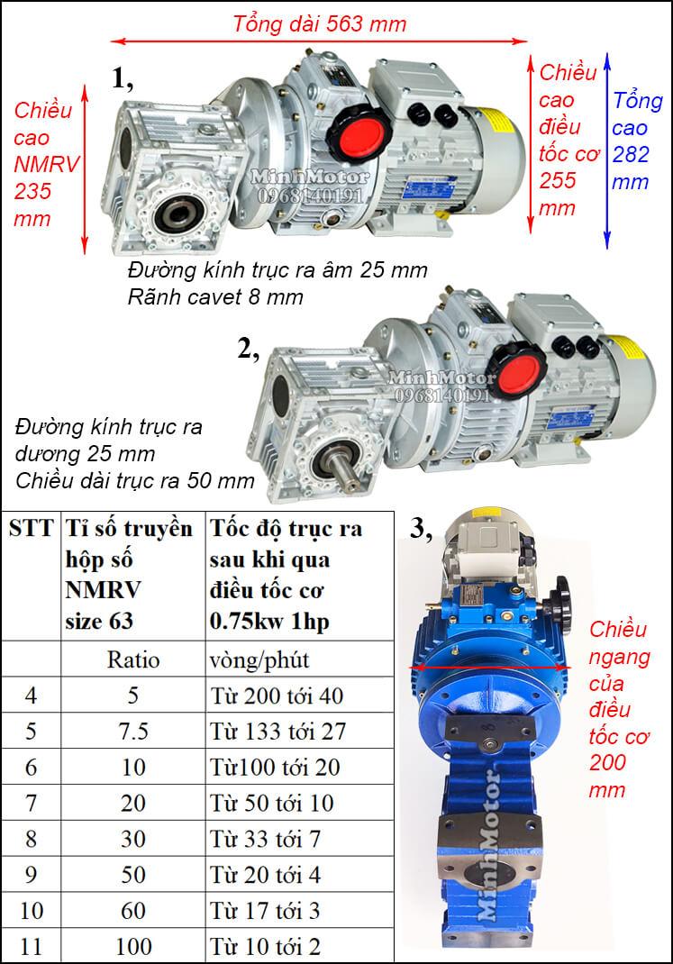 Motor giảm tốc 0.75kw 1hp gắn điều tốc cơ