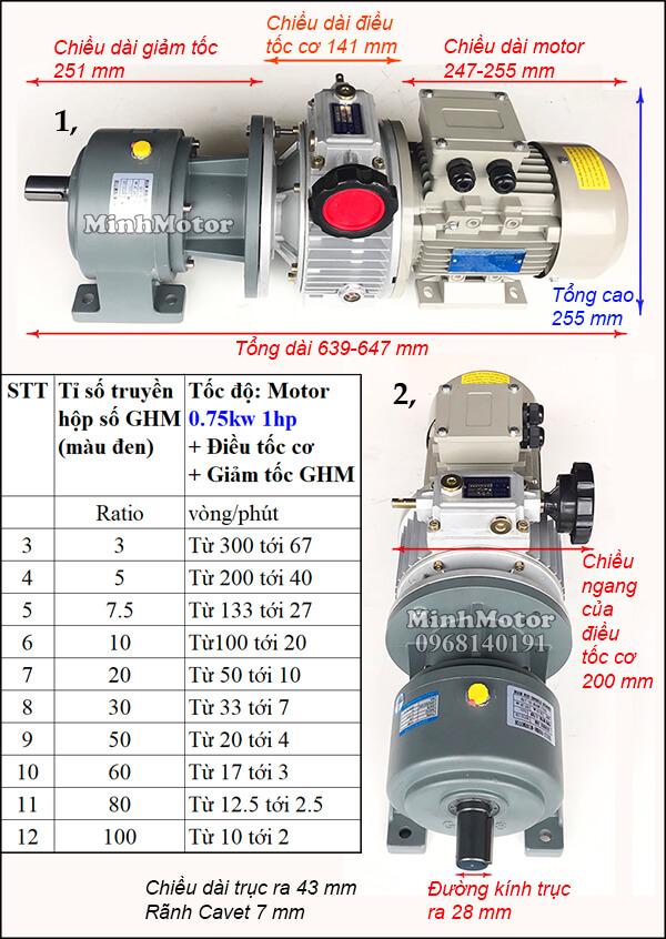 Motor giảm tốc 0.75kw 1hp gắn điều tốc cơ + giảm tốc ghm