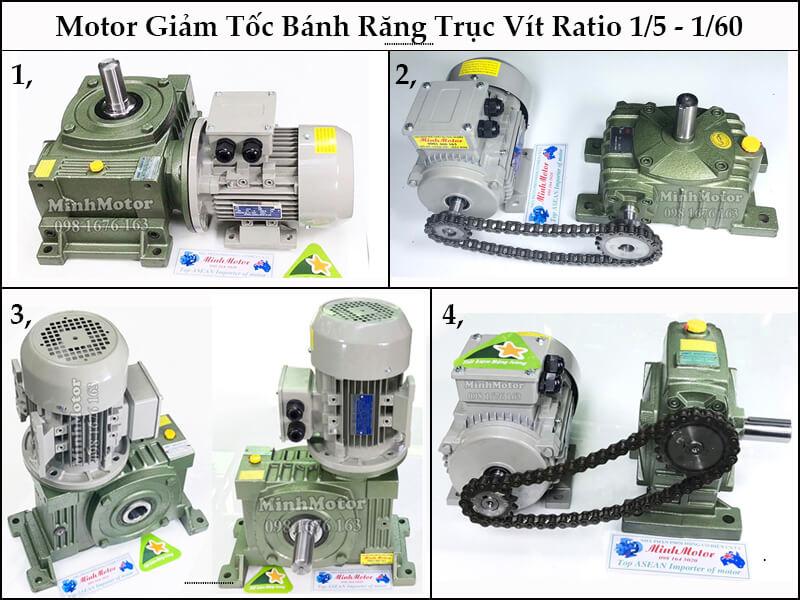 Động Cơ Giảm Tốc Trục Âm RV, SW, MS Flange Gearbox 0.75kw 0.8kw 1HP Ratio 50