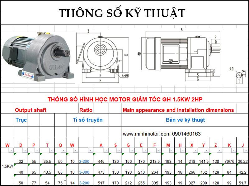 Bản vẽ motor giảm tốc 1.5kw 2HP chân đế ratio 10 tốc độ trục ra 140-150 vòng