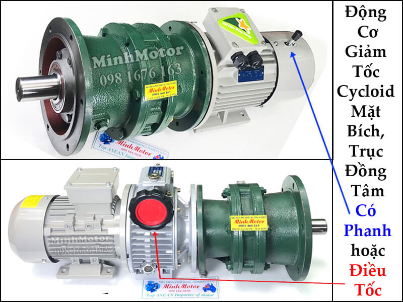 Hộp Số Cycloid Liền Mô Tơ 1.5kw 2HP Cycloid Motor Gearbox Reducer 4 Pole
