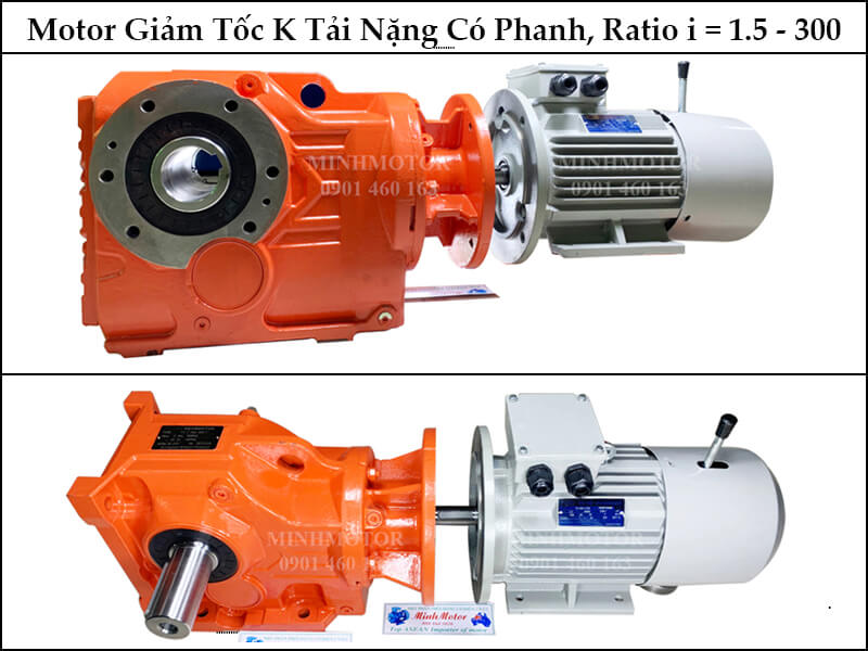 Motor Giảm Tốc Bánh Răng Côn Cốt Âm Bevel Helical Gear Reducer K 1.5kw 2HP Ratio 80 With Brake