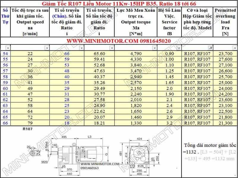 Bản Vẽ kỹ thuật Động Cơ Giảm Tốc 15HP 11kw R107