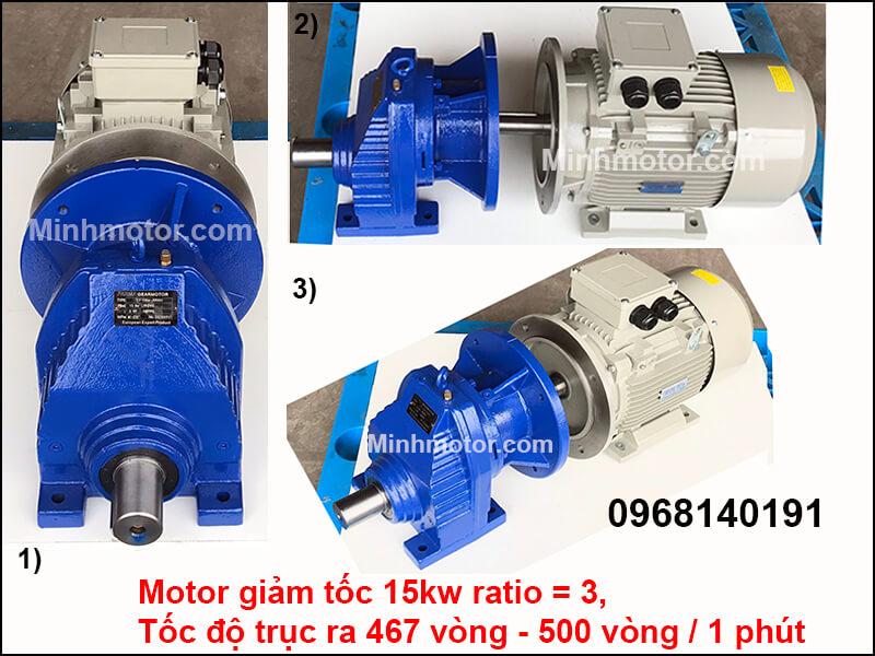 Bản vẽ kỹ thuật Động Cơ Giảm Tốc 20HP 15KW ratio 3