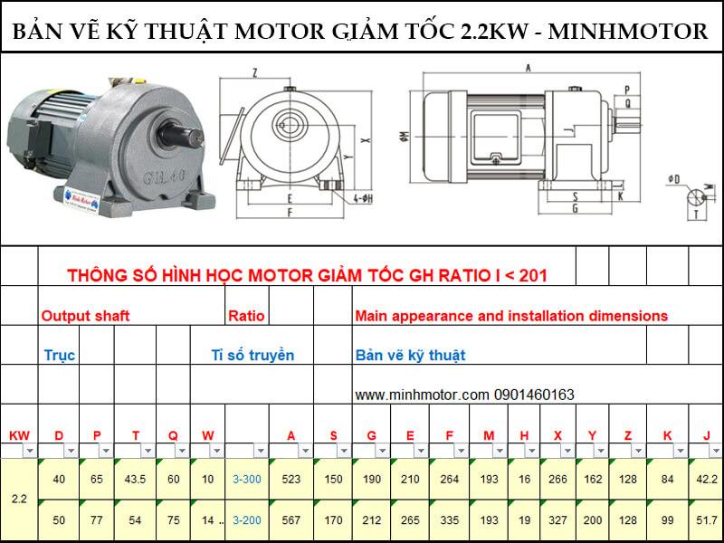 Bản vẽ kỹ thuật động cơ giảm tốc 2.2kw 3HP chân đế ratio 10 tốc độ trục ra 140-150 vòng