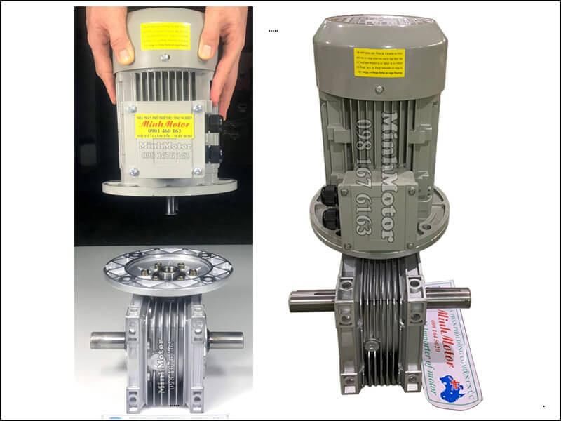 giảm tốc song trục, trục đôi, double shaft gear reducer motor 2.2kw 3HP ratio 25 NMRV NRV