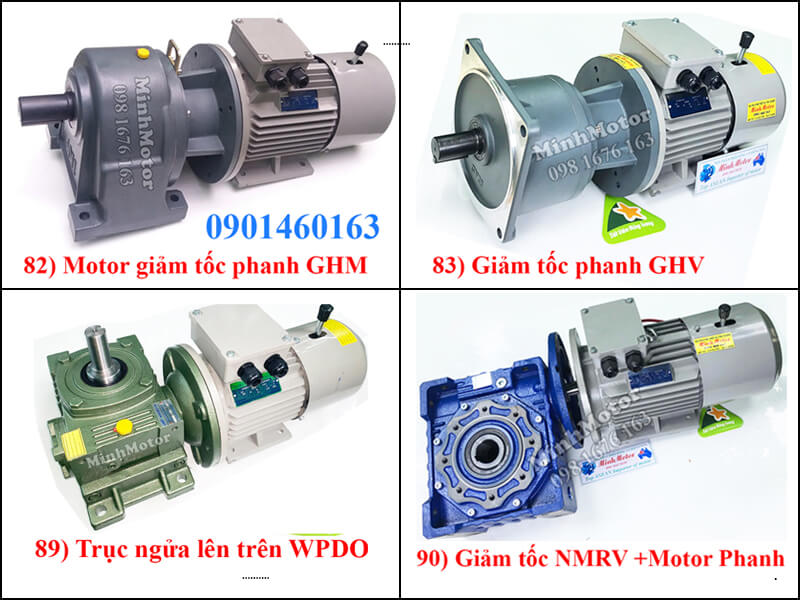 Motor Giảm Tốc 2.2kw 3HP Ratio 80 Có Phanh Thắng Gear Motor Reducer With Brake