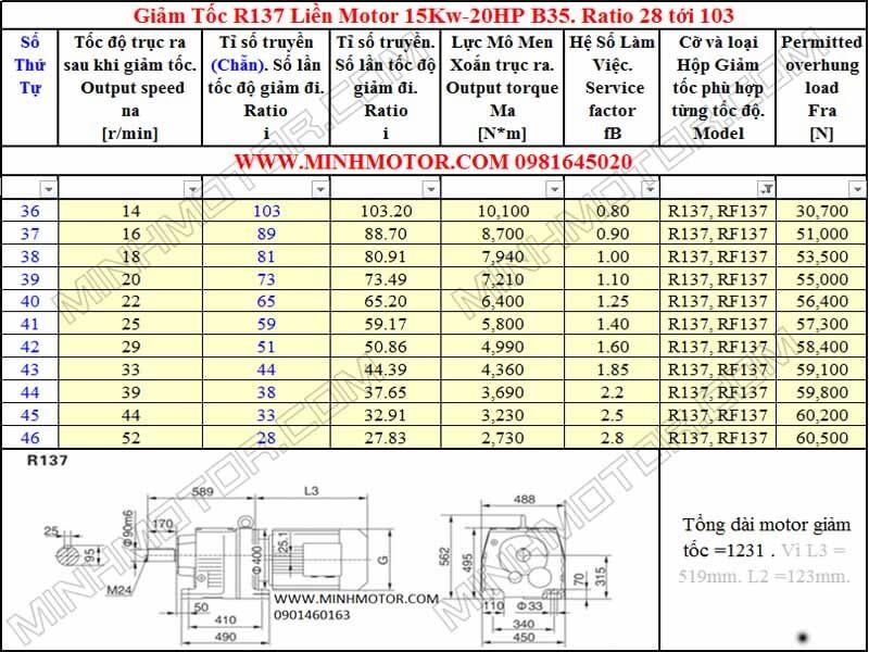 Thông số hình học Động Cơ Giảm Tốc 20HP 15KW R137