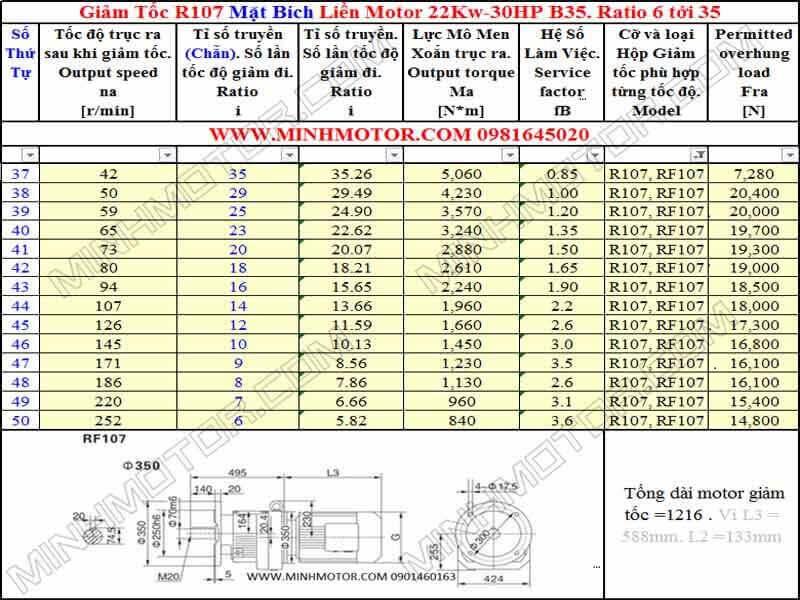 a)Bản vẽ kỹ thuật giảm tốc mặt bích 30HP 22Kw 4 Pole