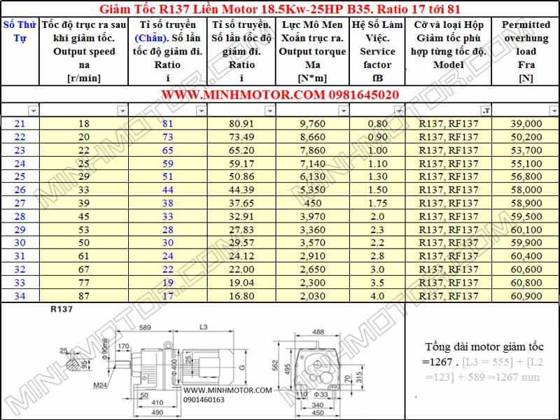 Động cơ giảm tốc 18.5kw 25HP R137