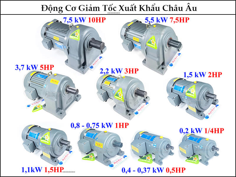 motor giảm tốc Đài Loan chân đế, mặt bích 3.7kw 5hp