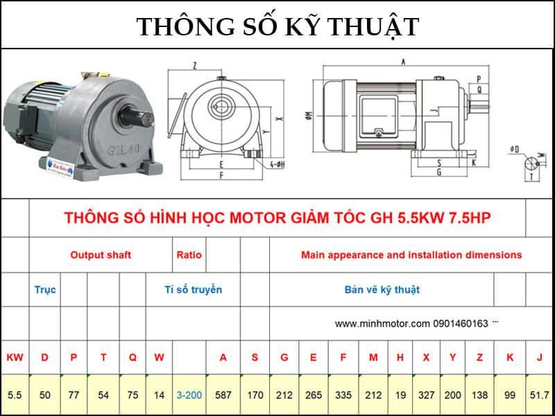 Bản vẽ kỹ thuật động cơ giảm tốc chân đế 5.5kw 7.5HP 1/60 tốc độ trục ra 23-25 vòng