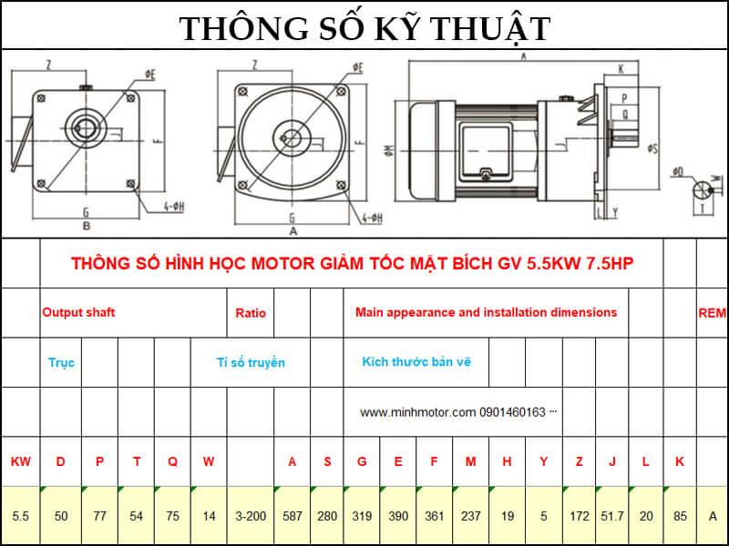 Bản vẽ kỹ thuật động cơ giảm tốc mặt bích 5.5kw 7.5HP 1/60 tốc độ trục ra 23-25 vòng
