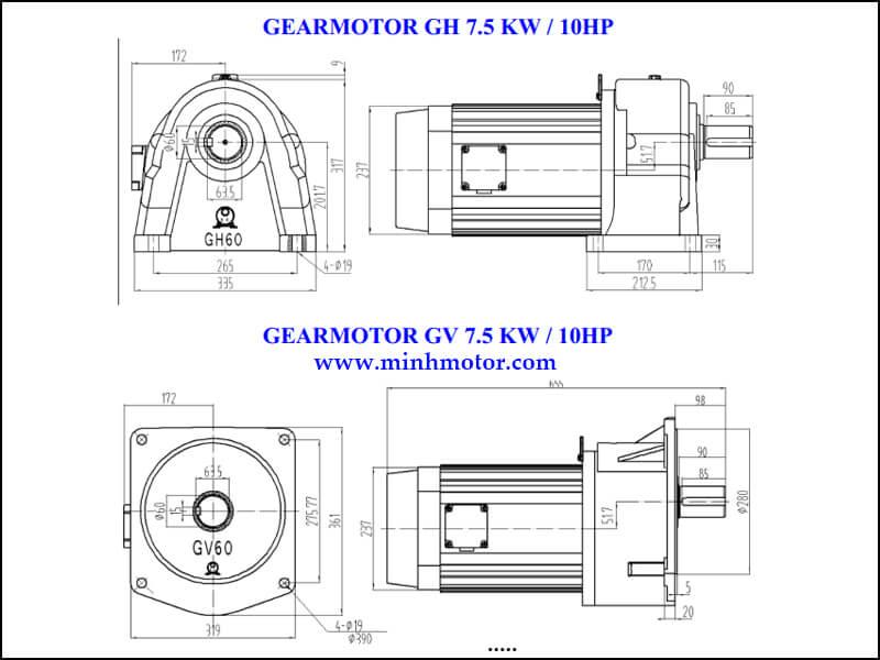Bản vẽ kỹ thuật động cơ giảm tốc 7.5kw 10HP 1/20 tốc độ trục ra 70-75 vòng