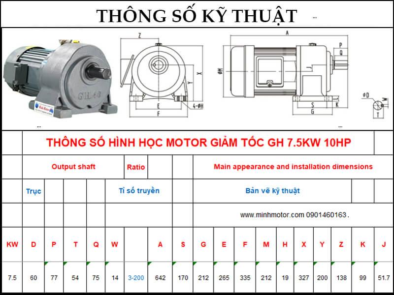 Bản vẽ kỹ thuật động cơ giảm tốc chân đế 7.5kw 10HP 1/50 tốc độ trục ra 28-30 vòng