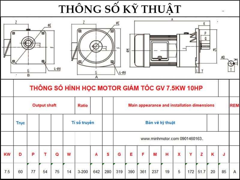 Bản vẽ kỹ thuật động cơ giảm tốc mặt bích 7.5kw 10HP 1/20 tốc độ trục ra 70-75 vòng