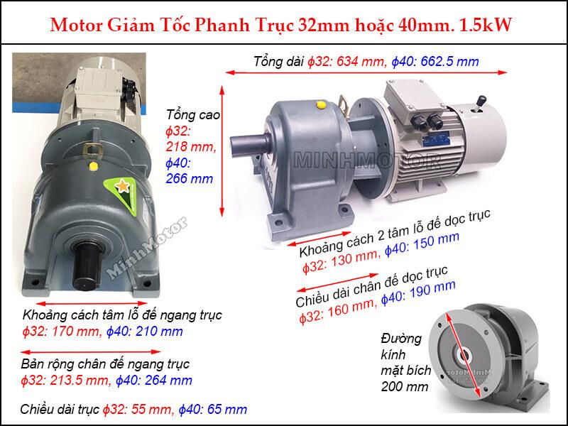 Kích thước Motor giảm tốc phanh 1.5Kw 2Hp GHM