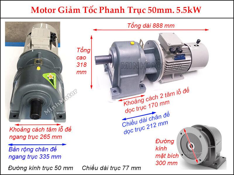 Kích thước Motor giảm tốc phanh 5.5Kw 7.5Hp GHM