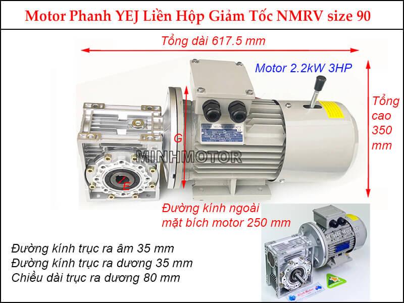 Motor phanh 2.2Kw 3Hp liền hộp giảm tốc NMRV size 90