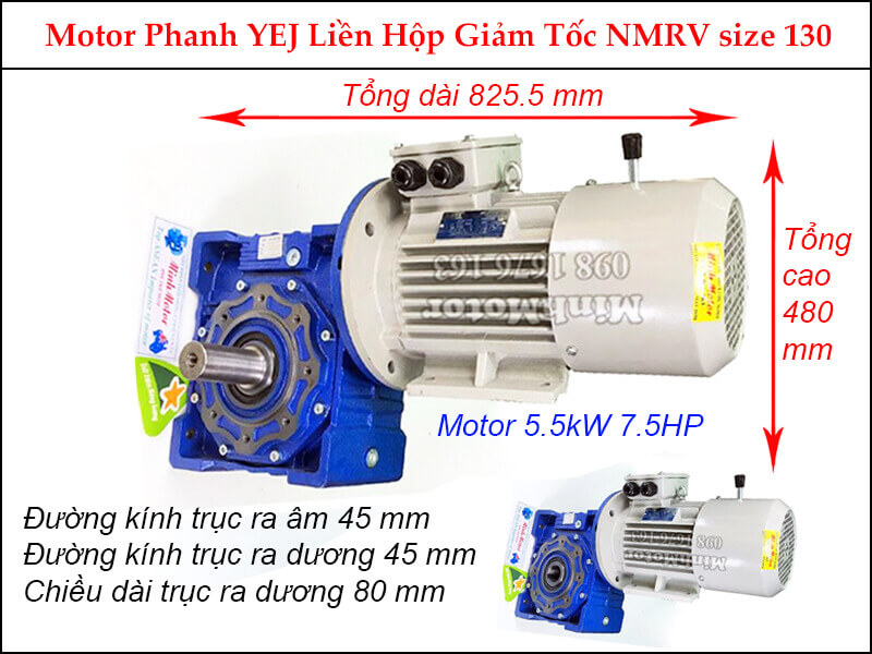 Motor phanh 5.5Kw 7.5Hp liền hộp giảm tốc NMRV size 130