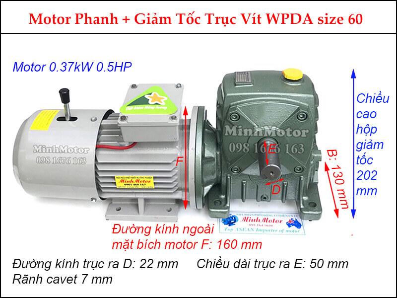 Motor giảm tốc có thắng trục vuông góc 0.37kw 0.5HP 0.5 ngựa WPDA size 60