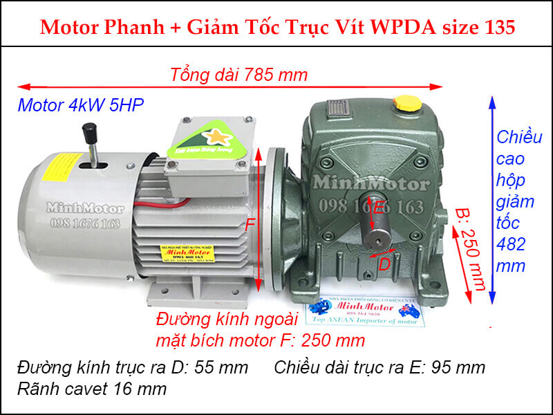 Motor phanh 4Kw 5Hp gắn hộp giảm tốc Trục vít WPDA size 135
