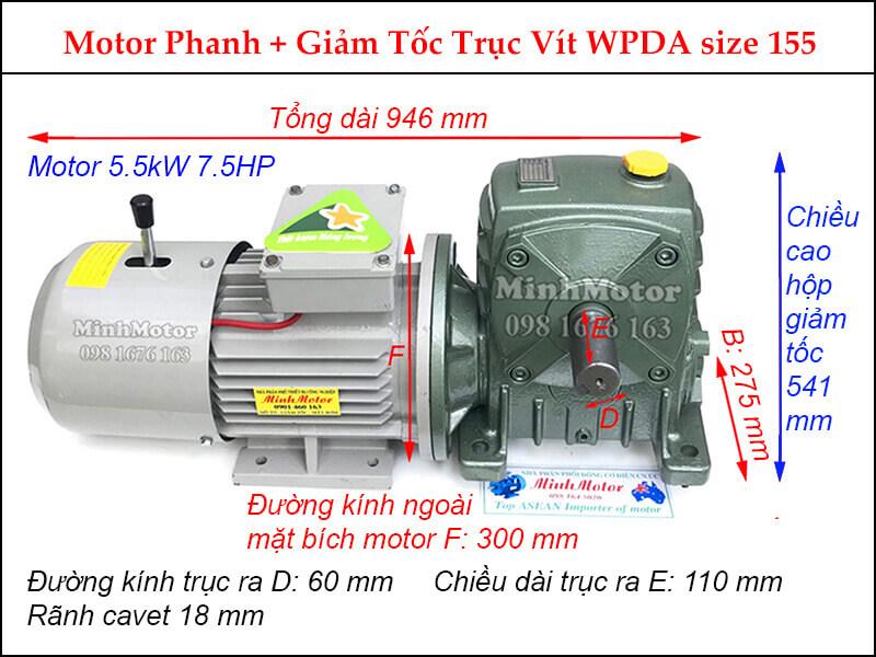 Motor phanh 5.5Kw 7.5Hp gắn hộp giảm tốc Trục vít WPDA size 155