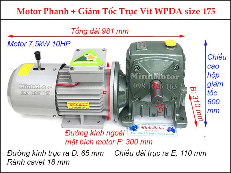 Motor phanh 7.5Kw 10Hp gắn hộp giảm tốc Trục vít WPDA size 175