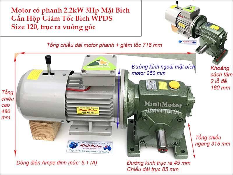 Motor phanh 2.2Kw 3Hp gắn hộp giảm tốc bích WPDS size 120