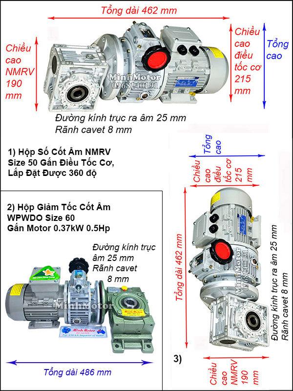 Motor giảm tốc cốt âm 0.4Kw chỉnh tốc độ