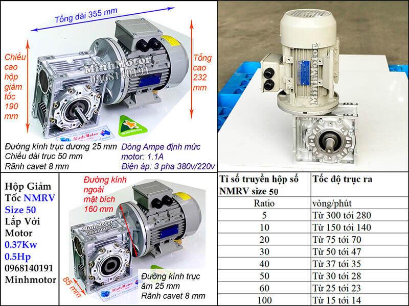 Motor giảm tốc cốt âm 0.4Kw trục 25 mm