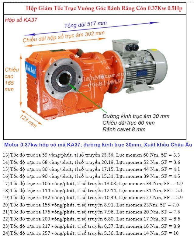 Motor giảm tốc cốt âm 0.4Kw trục 30 mm