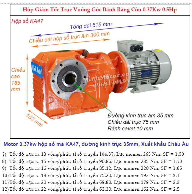 Motor giảm tốc cốt âm 0.4Kw trục 35mm