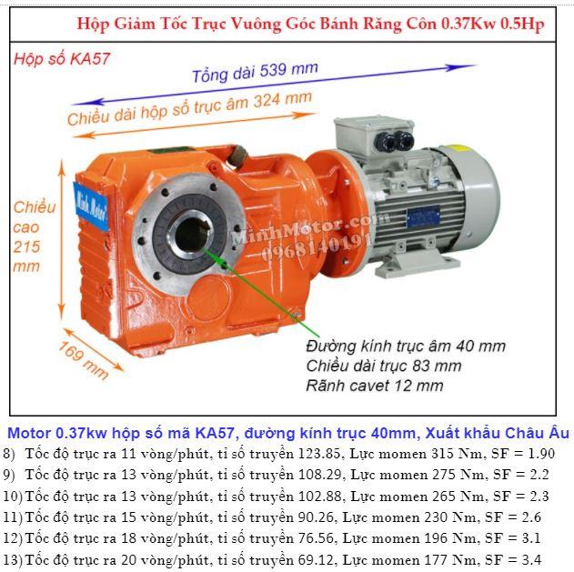 Motor hộp số cốt âm 0.4Kw đường kính 40 mm