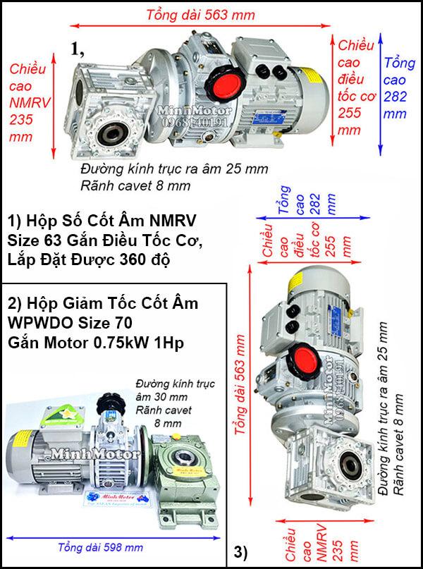 Motor giảm tốc cốt âm 0.75w 1HP chỉnh tốc độ
