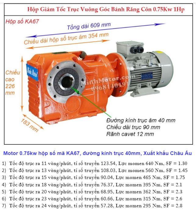 Motor hộp số cốt âm 1HP 0.75w đường kính 40mm