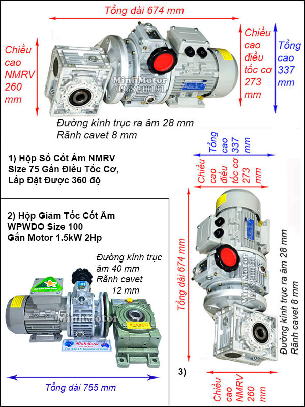 Motor giảm tốc cốt âm 1.5Kw 2HP chỉnh tốc độ