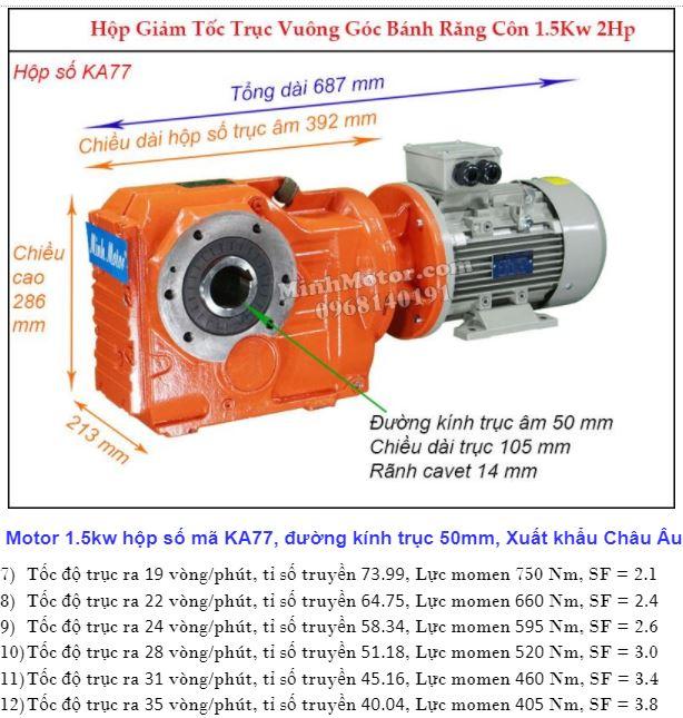 Motor giảm tốc cốt âm 2HP 1.5kw trục 50 mm