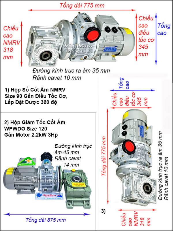 Motor giảm tốc cốt âm 2.2kw 3HP chỉnh tốc độ
