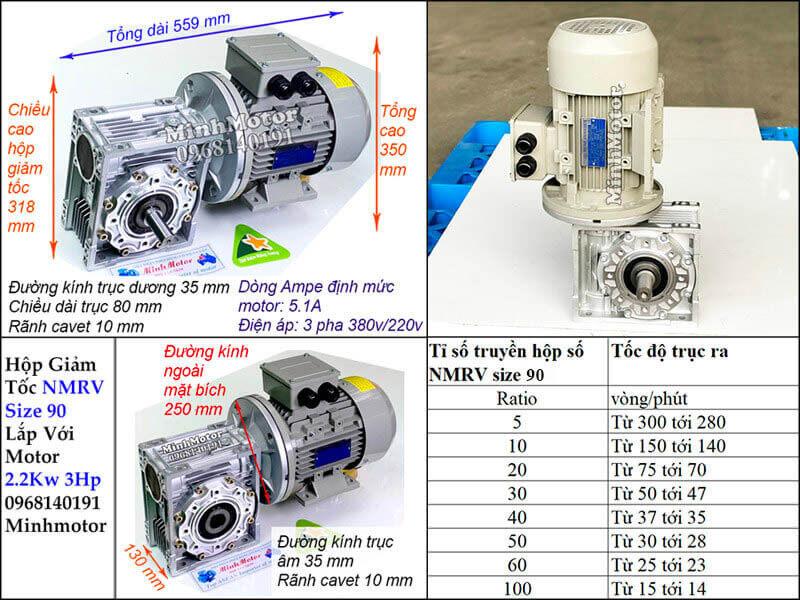 Motor giảm tốc cốt âm 3HP 2.2Kw trục 35 mm