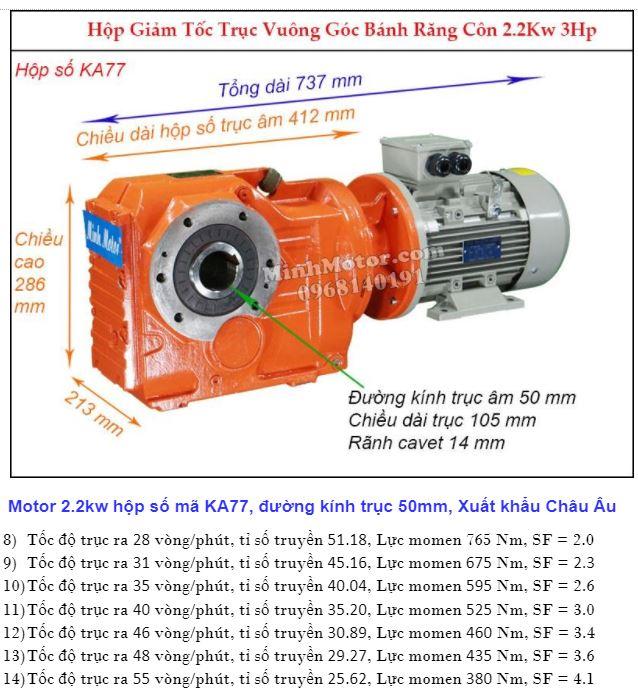 Motor giảm tốc cốt âm 3HP 2.2kw trục 50 mm