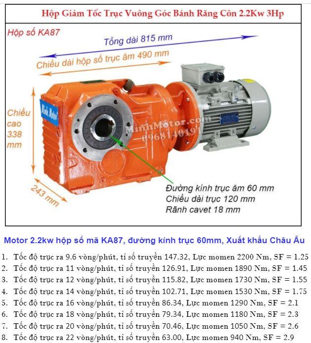 Motor hộp số cốt âm 3HP 2.2Kw đường kính 60 mm