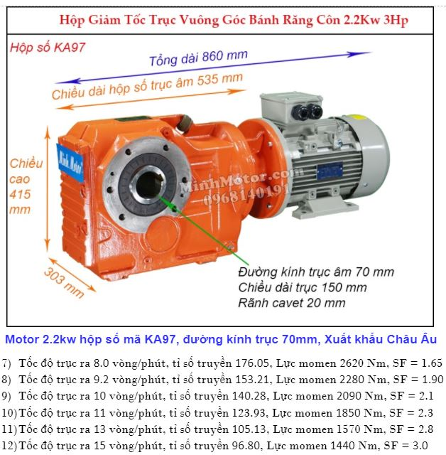 Động cơ hộp số cốt âm 2.2Kw 3HP trục 70 mm