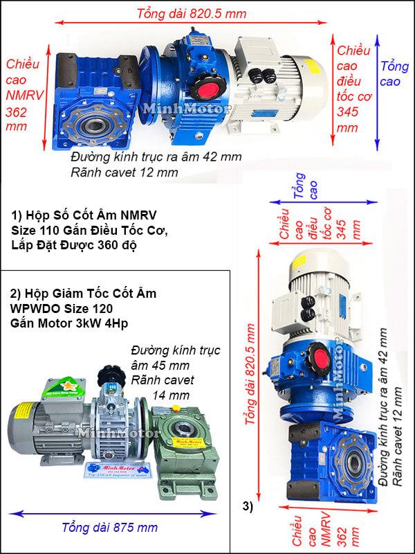 Motor giảm tốc cốt âm 3Kw 4HP chỉnh tốc độ