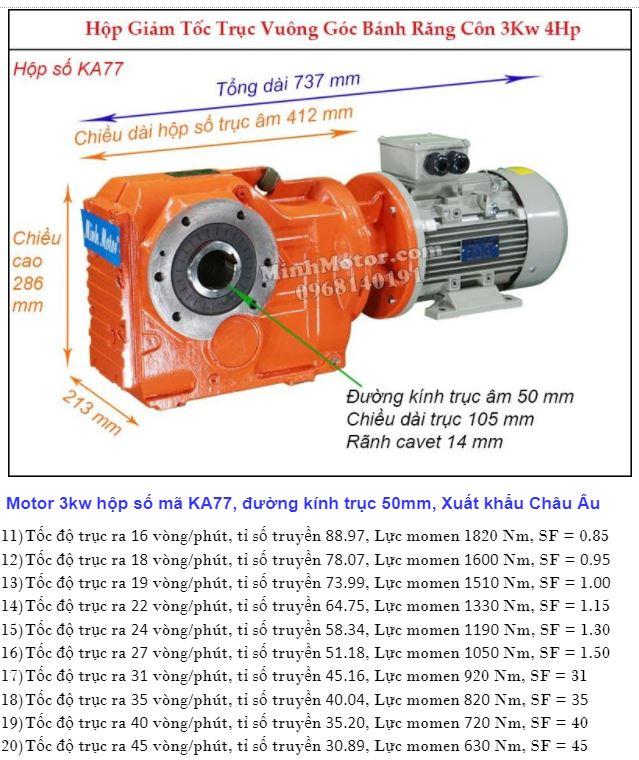 Motor giảm tốc cốt âm 4HP 3kw trục 50 mm