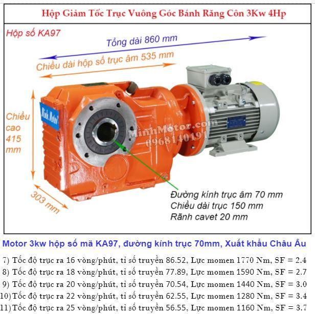 Motor hộp số cốt âm 4HP 3Kw đường kính 70 mm