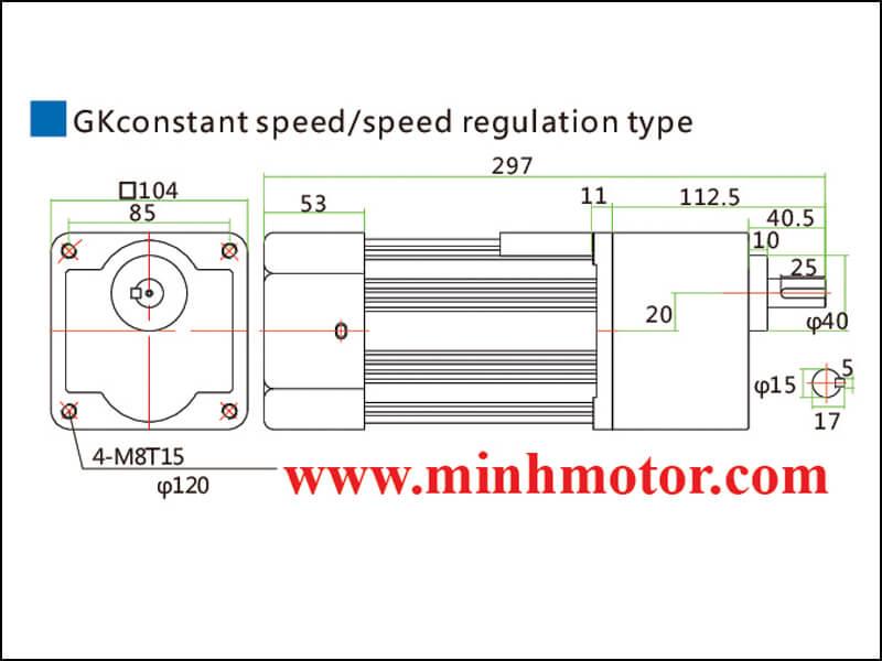 Bản vẽ động cơ giảm tốc 250w trục thẳng