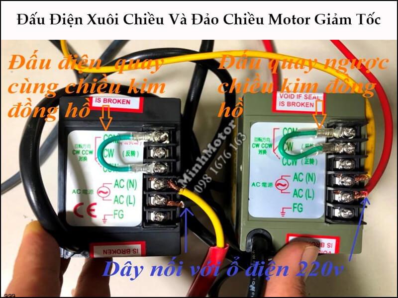 Đấu điện motor giảm tốc 30w AC