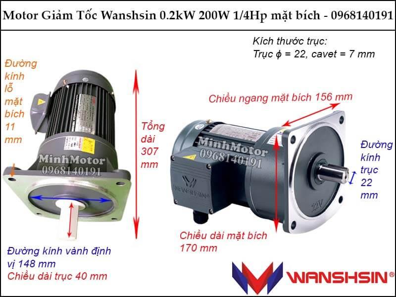 Motor giảm tốc Wanshsin 0.2kw 200W 1/4hp mặt bích GV