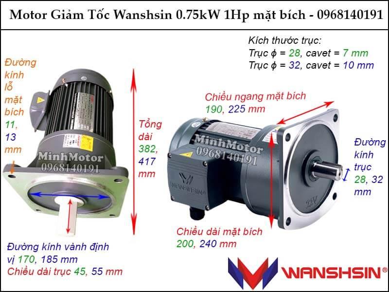 Bản vẽ motor giảm tốc Wanshsin 0.75kw 1hp mặt bích GV